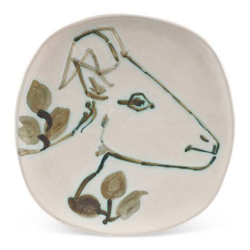 Pablo Picasso Ceramic Plate-Tête de Chèvre de Profil , Ramié 106