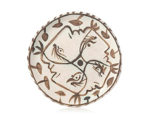 Picasso Madoura Ceramic Plate - Quatre profils enlacés, Ramié 88