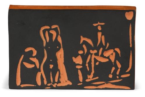 Pablo Picasso Terracotta Plaque -Personnages et Cavalier, Ramié 540