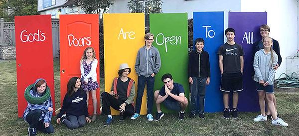 Kids and Rainbow Doors