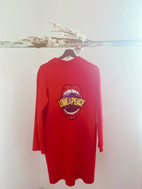 Roter Sweatmantel Love & Peace Gr. L
