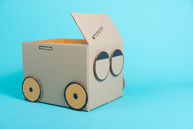 Car creative by a cardboard box imaginat