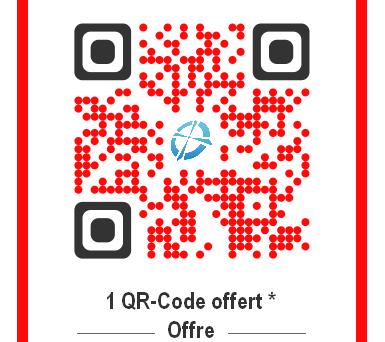 Nouveaux clients et sur demande. Nous vous offrons un QR Code avec votre logo. Choix des couleurs.