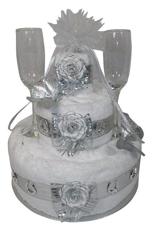 Three Tier Silver Wedding Anniversary Cake