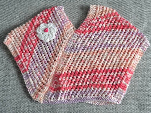 Baby Girls Pink Hand Knitted Poncho 9-12 Months
