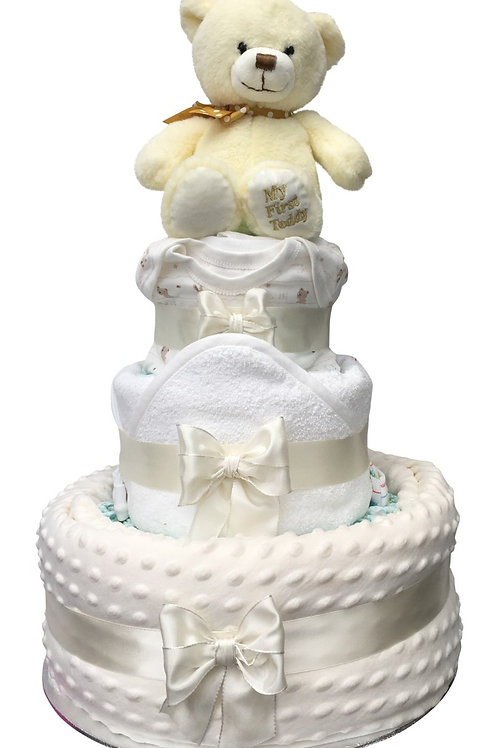 My First Teddy Cream Three Tier Neutral Nappy Cake