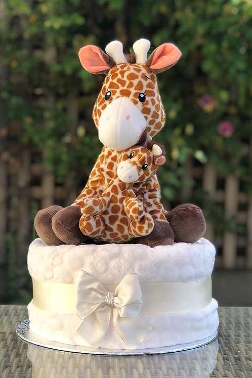 Mummy and Baby Giraffe Neutral One Tier Nappy Cake