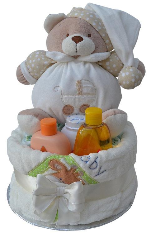 Puffle Bear Neutral One Tier Luxury Nappy Cake