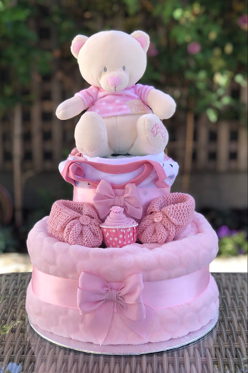 Bryony Teddy Baby Girl Fluffy Two Tier Nappy Cake