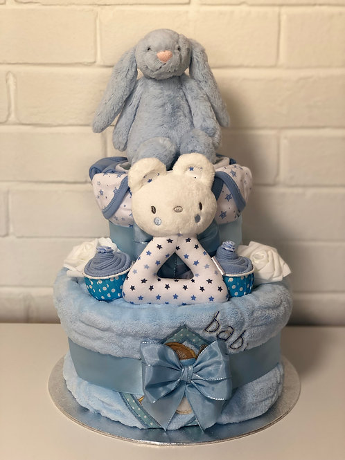 Bashful Bunny Deluxe Baby Boy Two Tier Nappy Cake