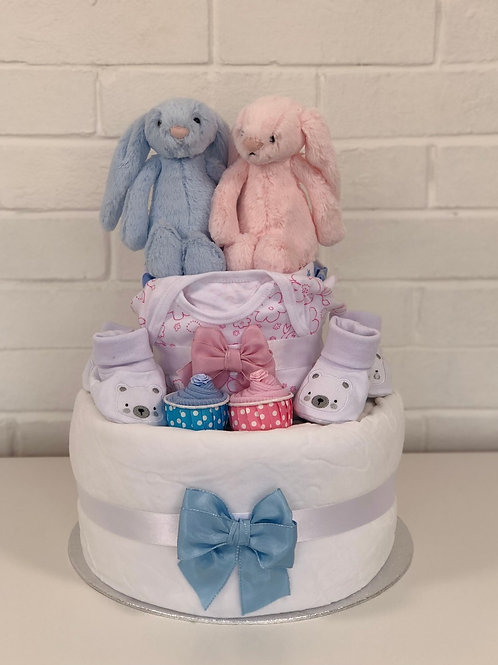Twins Two Tier Nappy Cake