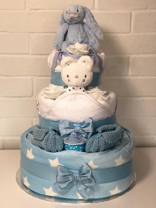 Bashful Bunny Three Tier Baby Boy Nappy Cake