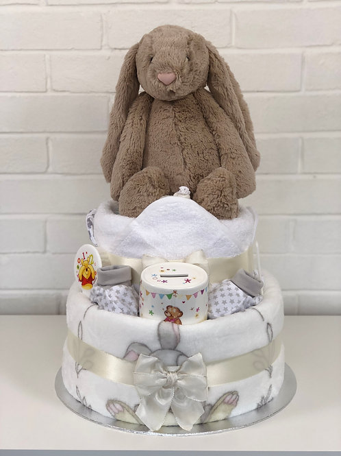 Large Bashful Bunny Neutral Two Tier Nappy Cake