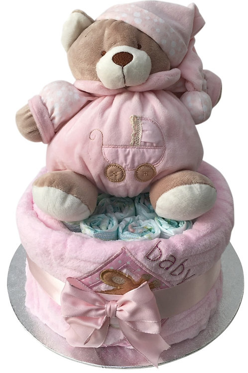 Betty Bear Baby Girl One Tier Nappy Cake