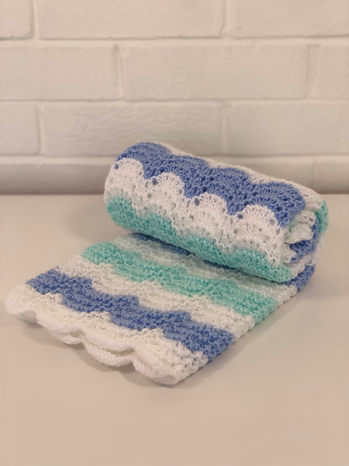 Baby Pram Blanket Blue & White