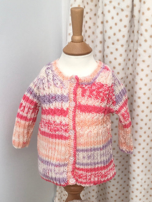 Baby Girls Pink Multi Hand Knitted Cardigan 3-6 Months