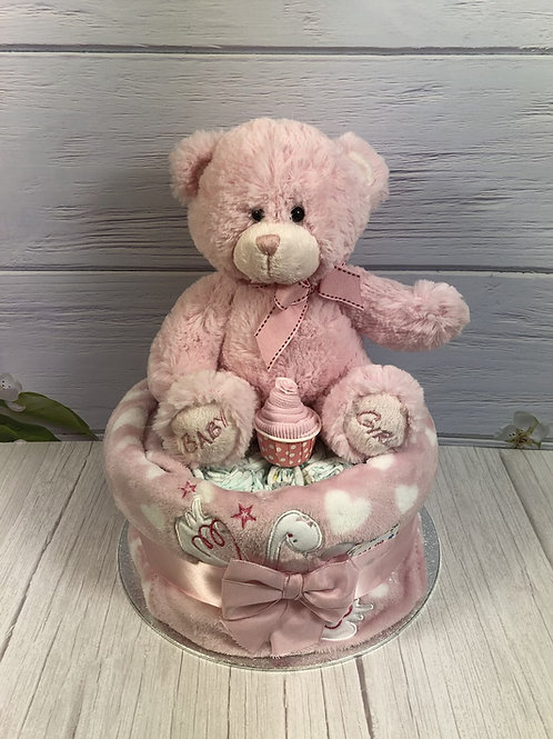 Bessie Teddy Baby Girl One Tier Nappy Cake