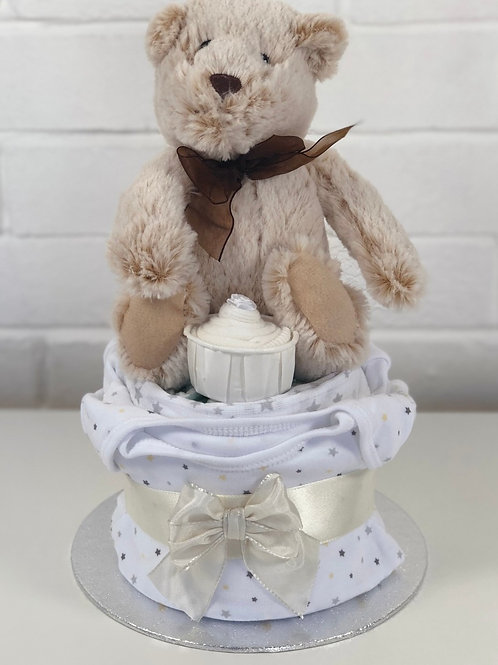 Billy Bear Neutral Nappy Cup Cake
