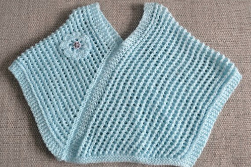 Baby Girls Turquoise Hand Knitted Poncho 9-12 Months