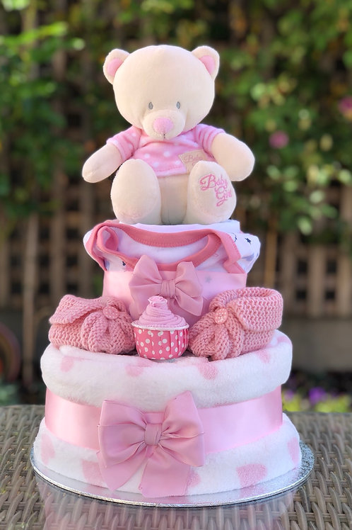 Bryony Teddy Baby Girl Two Tier Nappy Cake