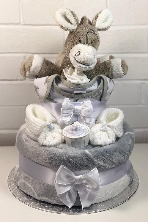 Dizzy Donkey Neutral Two Tier Luxury Nappy Cake