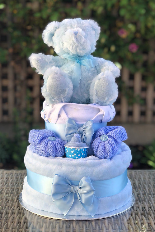 Terry Teddy Baby Boy Fluffy Two Tier Nappy Cake