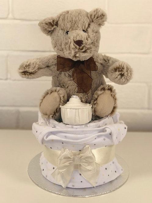 Bobby Bear Neutral Nappy Cup Cake