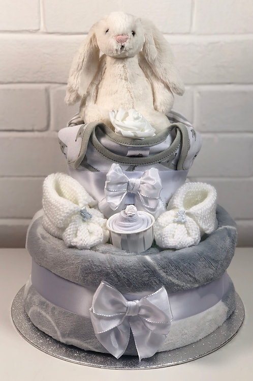 Bashful Bunny Neutral Two Tier Luxury Nappy Cake