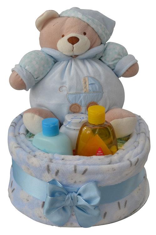 Bertie Bear Baby Boy One Tier Luxury Nappy Cake