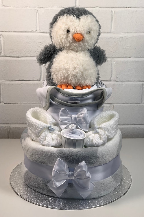 Puffy Penguin Neutral Two Tier Nappy Cake