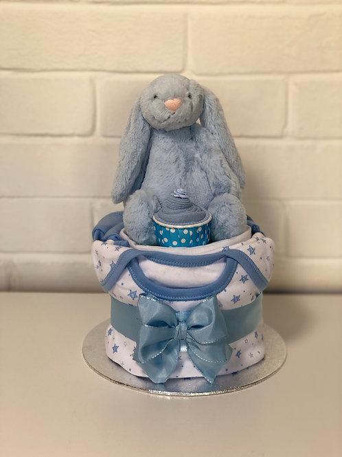 Bashful Bunny Baby Boy Nappy Cup Cake