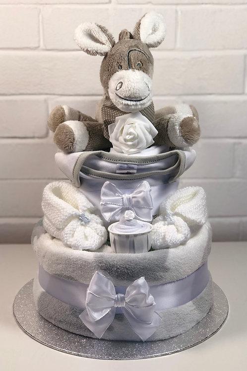 Dizzy Donkey Neutral Two Tier Deluxe Nappy Cake