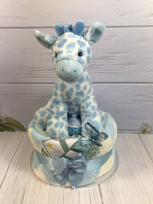 Georgie Giraffe Baby Boy One Tier Nappy Cake