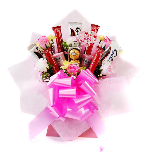 Lindt Galaxy & Candles Pink Chocolate Bouquet