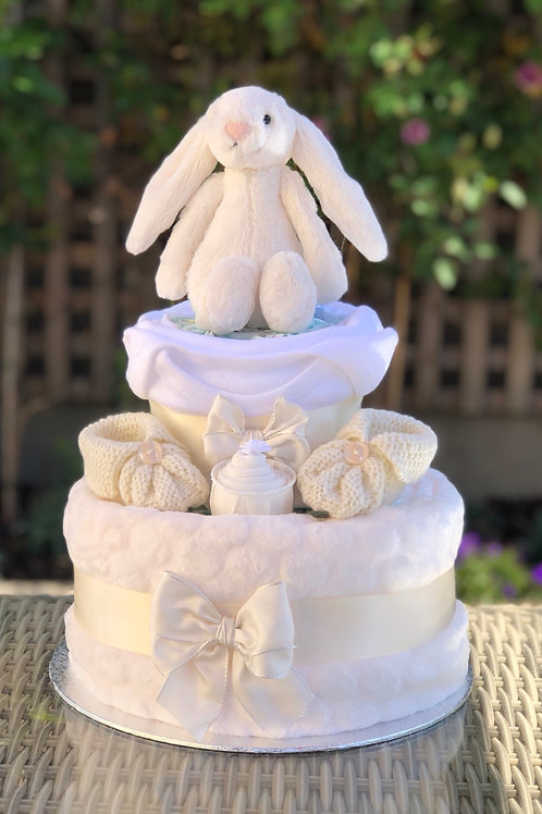 Bashful Bunny Neutral Cream Two Tier Nappy Cake