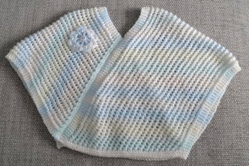 Baby Girls Blue & White Hand Knitted Poncho 9-12 Months