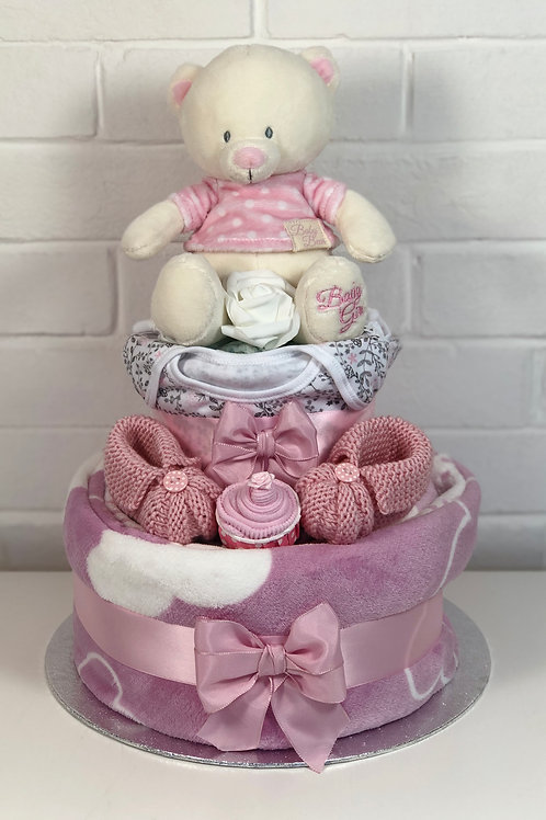 Bryony Teddy Baby Girl Two Tier Plush Nappy Cake