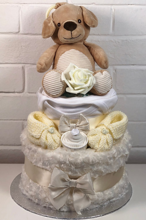 Peter Puppy Neutral Two Tier Cream Nappy Cake