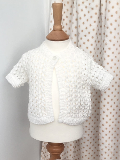 Baby Girls White Hand Knitted Cardigan 3-6 Months