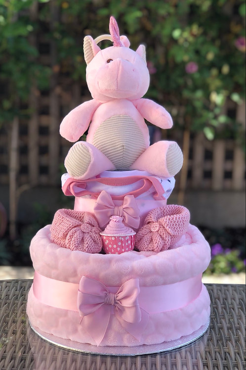 Flossy Unicorn Baby Girl Fluffy Two Tier Nappy Cake