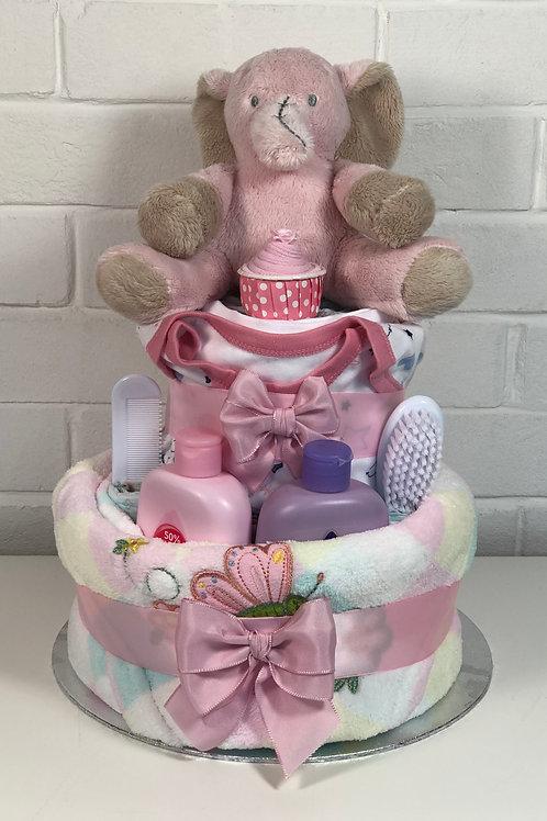 Ella Elephant Luxury Baby Girl Two Tier Nappy Cake