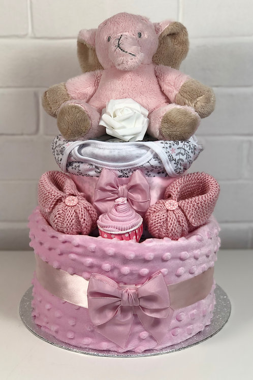 Ella Elephant Baby Girl Two Tier Bobble Nappy Cake