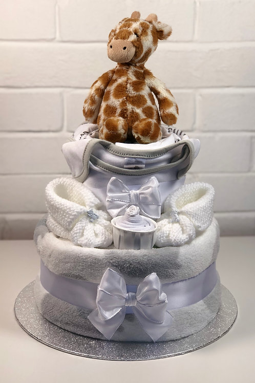 Jerry Giraffe Neutral Two Tier Luxury Nappy Cake