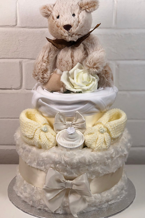 Billy Bear Neutral Two Tier Nappy Cake