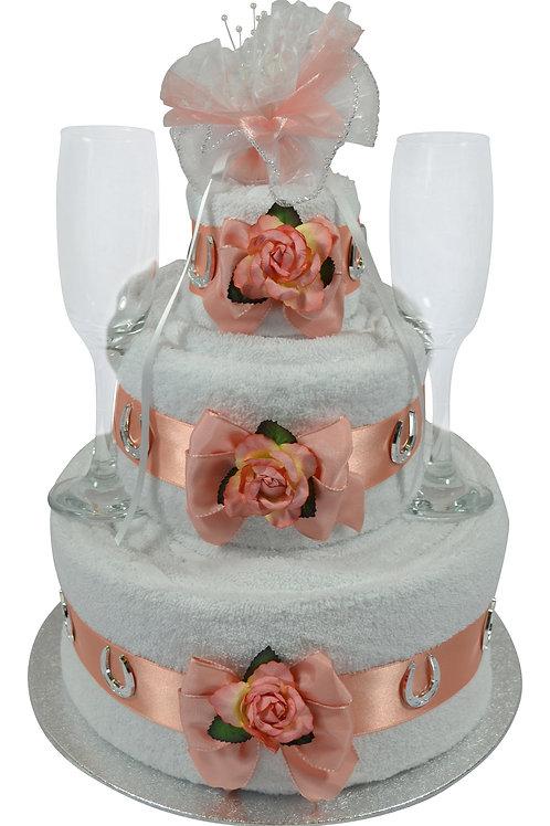 Three Tier Coral Wedding Cake