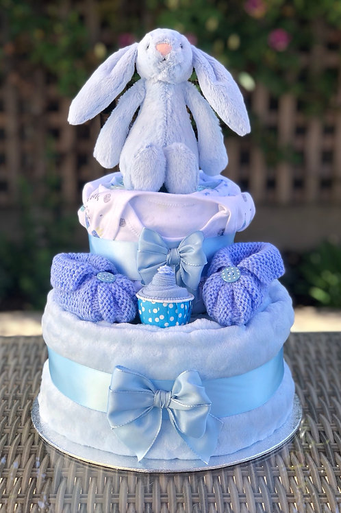 Bashful Bunny Baby Boy Fluffy Two Tier Nappy Cake