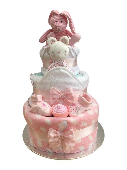 Betsy Bunny Three Tier Baby Girl Nappy Cake