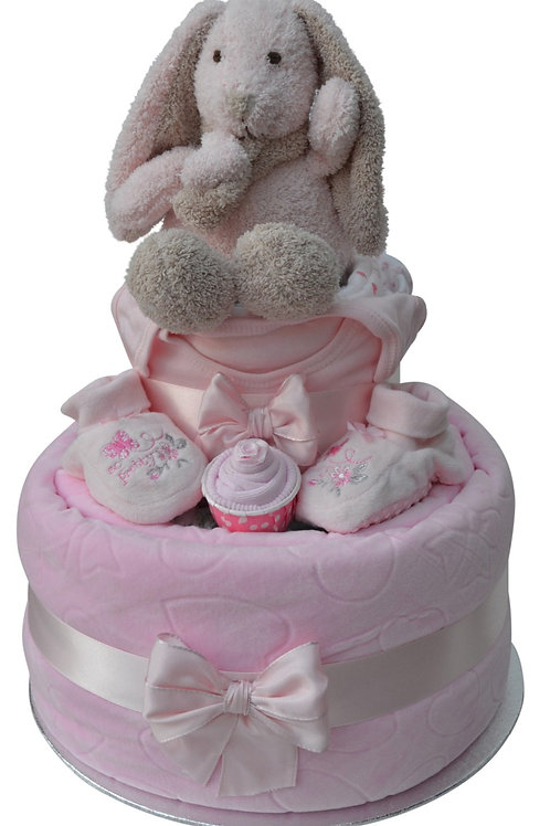 Bella Bunny Baby Girl Two Tier Nappy Cake