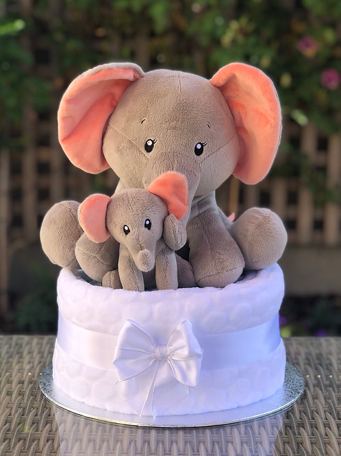 Mummy and Baby Elephant Neutral One Tier Nappy Cake