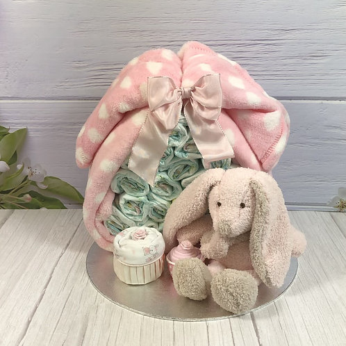 Baby Girl Stork Bundle Nappy Cake